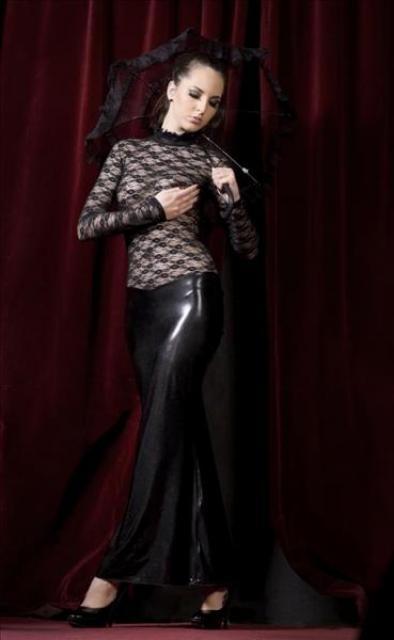 f005 langes kleid langer arm spitze wetlook schwarz. Black Bedroom Furniture Sets. Home Design Ideas