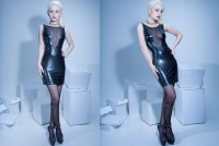 Kurzes Kleid Alvina Wetlook Schwarz Les Peties Folies 803 0