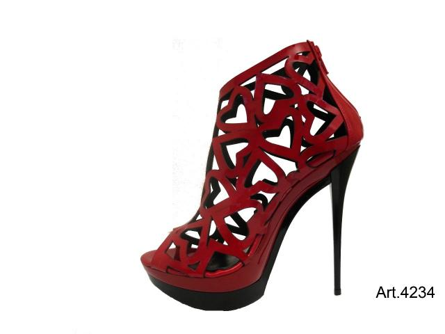 High Heel Pumps Plateau Vernice Rossa rot Black Venus